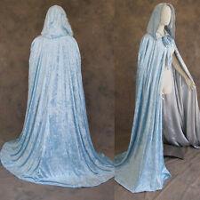 50 in Lined Light Blue Velvet Silver Renaissance Medieval Cosplay Cloak Cape SCA