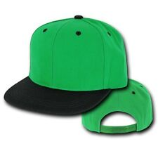Kelly Green & Black Vintage Flat Bill Snap Back Snapback Baseball Cap Caps Hat