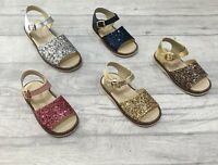 GIRLS SPANISH BOW SANDALS LEATHER GLITTER RAINBOW WHITE PINK SILVER SIZES 2-12