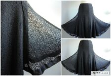 PER UNA Black Lace Full Skirt Satin Trim Fit and Flare Size 12