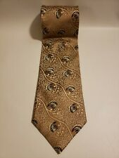 Steven Land Men's Neck Tie 100% Silk Career Wear Office Gold Floral Made in USA