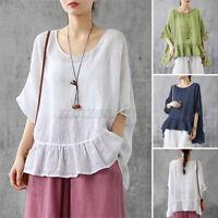 UK Women Blouse Summer Short Sleeve O Neck Casual Loose Tops Shirt Tee Plus Size