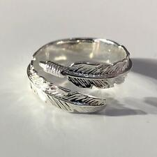 Feather 925 Sterling Silver Adjustable Ring Size L-S Solid Silver Hallmarked