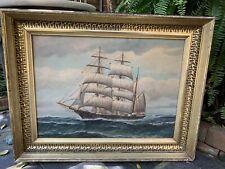 VTG FRAMED CLIPPER SHIP OIL ON CANVAS PAINTING In Antique Lemon Gilt Frame