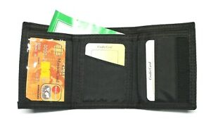Nylon Trifold Credit Card Wallet with ID window - Black