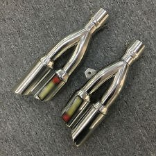 Pair Universal Motorcycle Dual Outlet Exhaust Muffler DB Killer Silencer Pipe