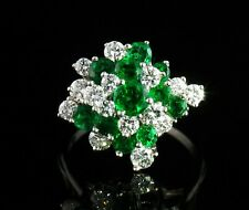 VINTAGE NATURAL 2.35ctw COLOMBIAN EMERALD & DIAMOND PLATINUM LARGE CLUSTER RING