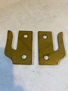 PAIR (2) BRASS PLATE STEEL CASEMENT TRANSOM WINDOW CABINET DOOR LATCH CATCH ONLY
