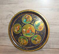 Vintage England floral tin tole round serving tray Greek Elite