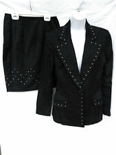 EMANUEL UNGARO Womens Black Studded Fitted Blazer 8 42 Skirt 6 40 Suit Set