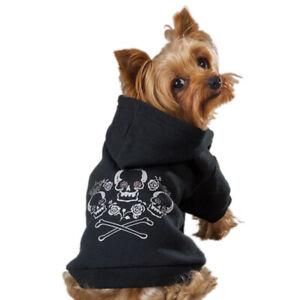 Pullover Crossbones Crowns Roses Rhinestones Black Hoodie Dog Jacket Coat MEDIUM