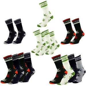 1-2-4 Pairs Stay Smokin Weed Leaf Cotton Blend Socks Set UK 6-11
