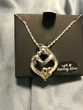 Diamond Mom And Baby Necklace R.H. Macy co Silver And