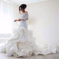Wedding Dresses Long Sleeves Appliques Bridal Gowns Mermaid Bride Dress for Girl