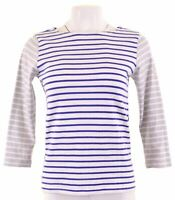 JOULES Womens Top 3/4 Sleeve UK 8 Small Blue Striped Cotton  DX16