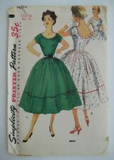 Vintage Simplicity 4637 Women's One-Piece Dress 50's Sewing Pattern Size 14 B 32