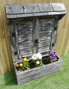 Shutter Display Planter Charcoal/ White - Timber Decking Pot Window Box - Double