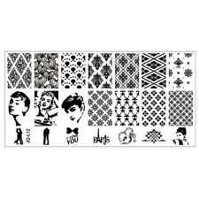 Super Star and grid Manicure Template Nail Art Printing Image Plate Stencil L12