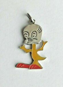 Anhänger Figur Zeichentrick Tweety Bird mit Emaille selten 835 Silber (1346)