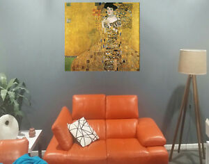 """klimt woman gold Framed Canvas abstract vintage painting art wall decor kiss 24"""""""