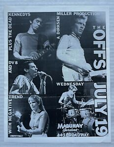 THE OFFS DEAD KENNEDYS NEGATIVE TREND Mabuhay Gardens 1978 PUNK Concert FLYER