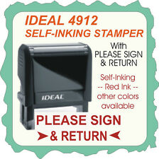 Please Sign & Return, Office Stamp, Trodat / Ideal Self Inking, 4912 Red Ink