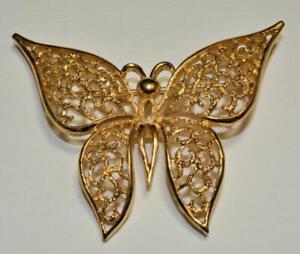Vintage Firmato Trifari Crown Color Oro Testurizzati Farfalla Forma Spilla