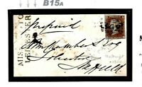 GB LEICS Cover UNIQUE MISSENT MILEAGE MARK Hastings 1850 Mourning Sheffield B15a