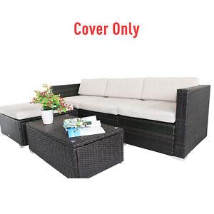 Outsunny 7pc Cream Rattan Wicker Furniture Home Sofa Cushion Cover Replacement