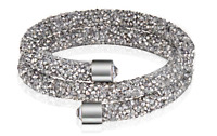 Made with Swarovski Elements Silver Crystal Dust Double Wrap Bracelet / Bangle