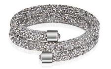 Made with Swarovski Elements Silver Crystal Dust Double Wrap Bracelet / Bangle