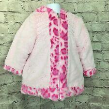 Pink Fuax Fur Hooded Kids Baby Girls Winter Outerwear Coat Jacket Size 3 Toddler