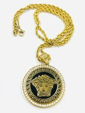 Mens 14k Gold Filled Iced Ancient Round Black Medusa Pendant Rope Chain Necklace