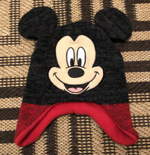 Disney Mickey Mouse Boys Winter Hat Beanie Cap Kids Toddlers Red Black  2-5T EUC