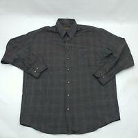 Robert Barakett Mens Gray Plaid Long Sleeve Button Up Collared Shirt Size Large