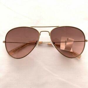 New CALVIN KLEIN Aviators Gold Rose-Tone Frame Brown Lenses CK Sunglasses - SALE