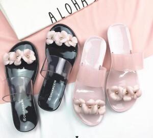 Women Flat Casual Jelly Flower Slippers Beach Sandals Summer Shoes Flip flops
