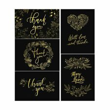 50 Thank You Cards with Envelopes - Matte Black with Gold Floral Script - Wed...
