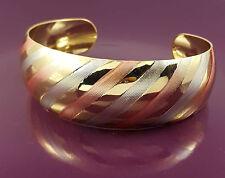18K oro riempito squisita ITALIANO LISCIO Tri tono colore 18ct GF Polsino Braccialetto 6cm