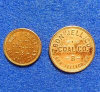 Kentucky Coal Scrip Tokens Lot of 2: 5 & 25 cents, Bon Jellico Coal Co., Whitley