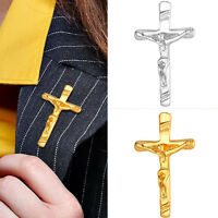 Men Shirt Accessories 18K Gold / Platinum Plated Cross Crucifix Pin Brooches