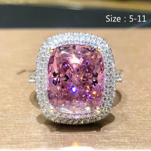 Fashion 925 Silver Pink Sapphire Ring Wedding Women Bridal Jewelry Gifts Sz 6-11