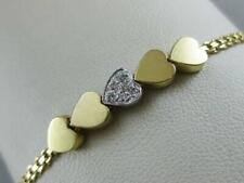 "ESTATE DIAMOND 14K W YELLOW GOLD FANCY PAVE HEARTS LINK BRACELET 7.25"" L1336.143"
