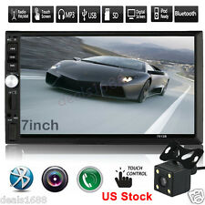 7' Hd Touch Screen Bluetooth Car Stereo Radio 2 Din Fm/Mp5/Mp3/Usb/Aux + Camera