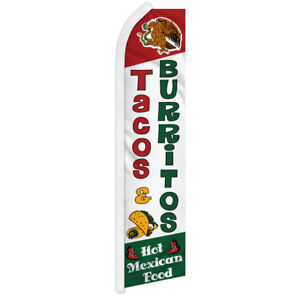 Tacos & Burritos Swooper Flag Advertising Flag Feather Flag Food Concessions