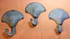 SET OF 3 BLUE SEASHELL BATHROOM or KITCHEN HOOKS ocean clam sea shell beach