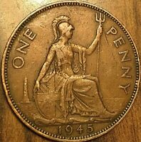1945 UK GB GREAT BRITAIN ONE PENNY