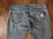 VANS 3 Jeans Novio Fit Destroyed Straight Leg Ultra-Low Rise Checker Board Patch