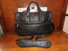 "Winn International Leather Briefcase Slim Business bag Black 10"" x 16"""