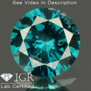 0.19 cts. CERTIFIED Round SI3 Vivid Royal Blue Color Loose Natural Diamond 24215